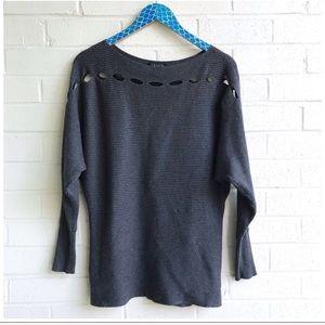 1. State Dark Grey Boat Neck Slit Yoke Sweater
